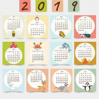 Wandkalenderentwurf für 2019.
