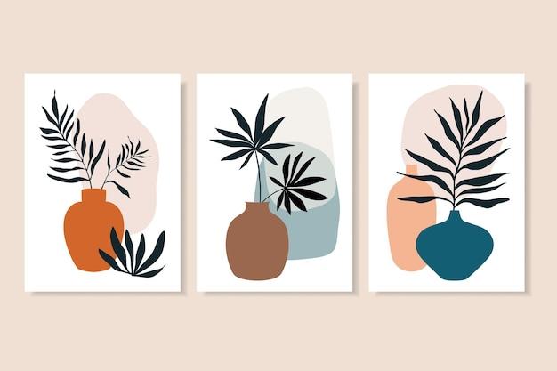 Wandkunst dekoration linie kunst pflanzen und vasen minimalistisch zeitgenössisch