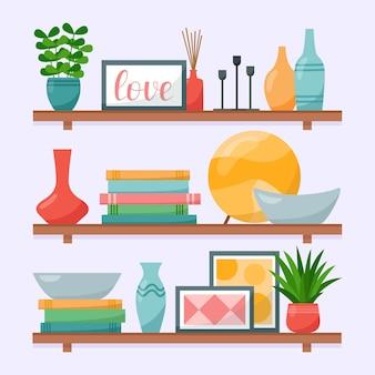 Wandregale mit büchern, vasen, gemälden, zimmerpflanzen, kerzenständern für das wohnzimmer, vektorillustration