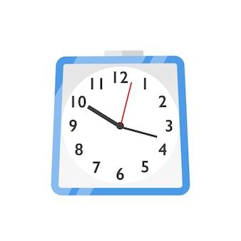 Wanduhr, uhren flache vektorillustration. terminplanung, zeitmanagement und planung. messsymbol für stunden, minuten und sekunden. blaue wanduhr-symbol auf weißem hintergrund.