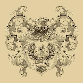 Wappen im mittelalterlichen stil.