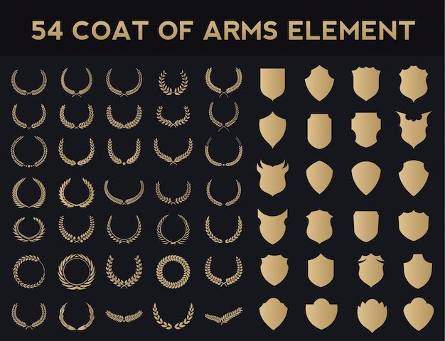 Wappen logo element set.heraldic logo, vintage lorbeerkränze, logo design elements