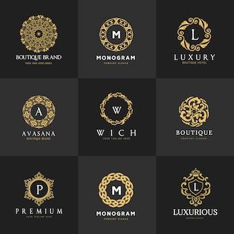 Wappen logo luxus-logo-set design für hotel, immobilien, spa, mode marke identität