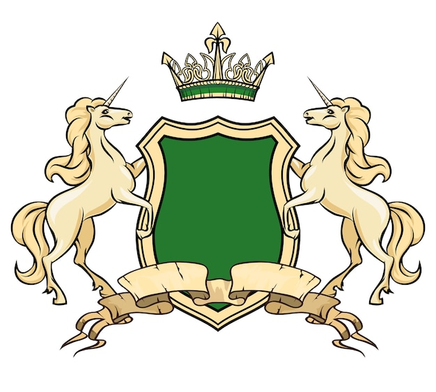 Wappen logo vorlage. einhörner mit schild und krone. heraldic royal, abzeichenelement, verziertes logo pferd