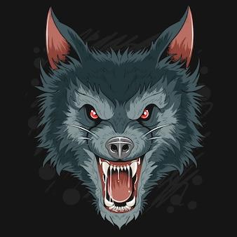Ware wolf dog head dark night kunstwerk