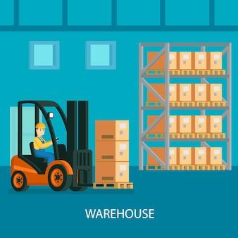 Warehouse interior bunte zusammensetzung