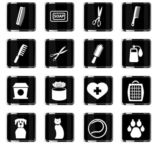 Waren für haustiere vektorsymbole für das design der benutzeroberfläche