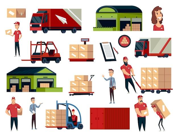 Warenhaus. sammlung logistischer illustrationen. lagerzentrum, verladen von lastwagen, gabelstaplern und arbeitern. moderner flacher stil lokalisiert auf weißem hintergrund.