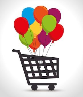 Warenkorb farbige ballons haufen