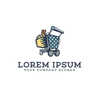 Warenkorb logo design konzept vorlage