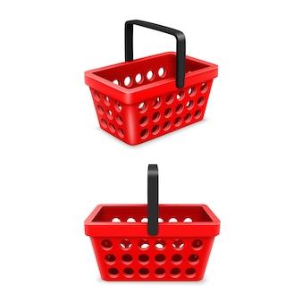 Warenkorb-set, objekt 3d auf weißem hintergrund. vektor-illustration