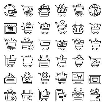 Warenkorb supermarkt icons set