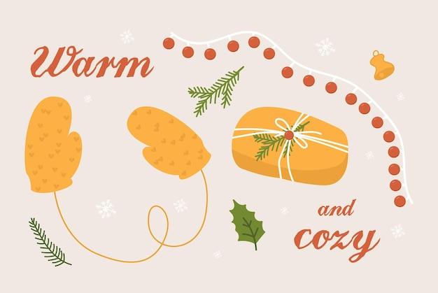 Warme handgemachte handschuhe und weihnachtsgeschenkvektorillustration, nette winterferien lokalisierten ikonen