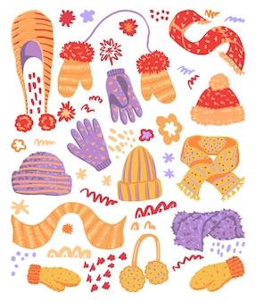 Warme handschuhe, schals, mützen flach handgezeichnete vektorgrafiken. bunte kollektion im skandinavischen stil. gemütliche winterkleidung mit einfachen elementen. cliparts für das design.
