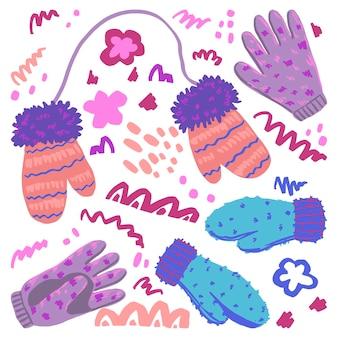 Warme handschuhe und abstrakte form flach handgezeichnete vektor-illustration. bunte kollektion im skandinavischen stil. gemütliche winterkleidung mit einfachen elementen. cliparts für das design.