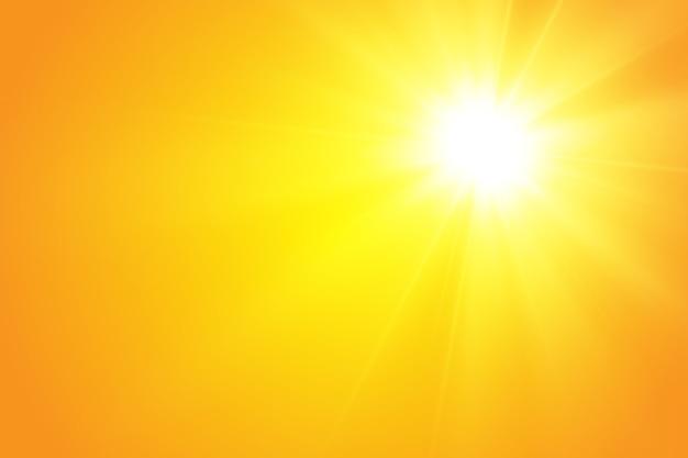 Warme sonne auf gelbem grund. leto.bliki sonnenstrahlen