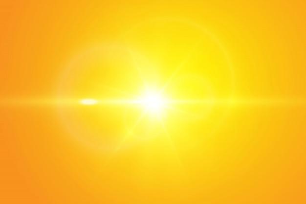 Warme sonne auf gelbem grund.