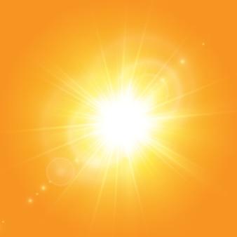 Warme sonne auf gelbem grund