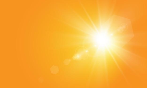 Warme sonne auf gelbem hintergrund