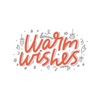 Warme wünsche pinsel schriftzug. handschriftliche weihnachtstypografie