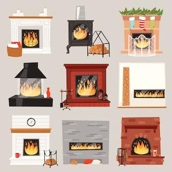 Warmer kamin des kamins im innenraum des hauses an weihnachten im winter, um hausillustrationssatz des brennenden brennholzes auf weihnachten lokalisiert auf weißem hintergrund zu erhitzen