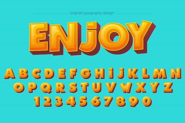 Warmer mutiger orange komischer typografieentwurf der abschrägung