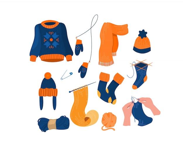 Warmes strickzubehör und kleidungsset