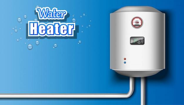 Warmwasserbereiter auf blauem hintergrund.