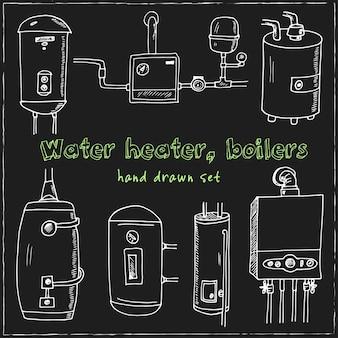 Warmwasserbereiter, handgezeichnetes doodle-set des kessels