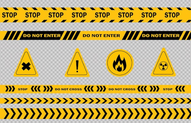 Warn- und gefahrenlinie die schwarz-gelbe warnpolizei klebt die aufmerksamkeitslinie an