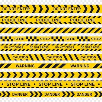 Warnband sicherheitsstreifen sicherheitsstreifen aufmerksamkeitsband. polizeischutz oder mordermittlungslinie, gefahrenquarantäne-stopp-vorsichtsband-set-vektor-illustration isoliert auf weißem hintergrund