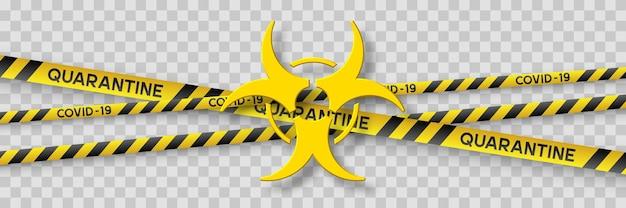 Warnendes coronavirus-quarantänebanner mit gelben und schwarzen streifen und 3d-infektionssymbol.