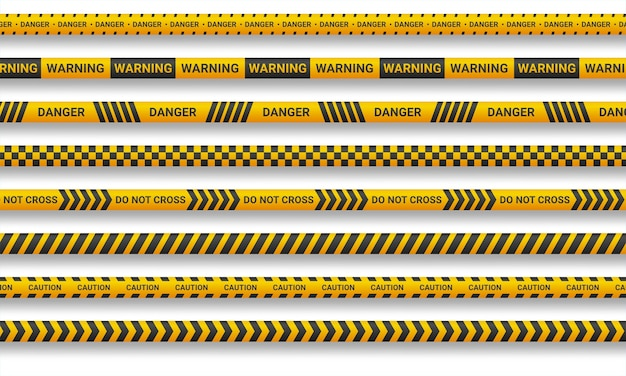 Warnleine und gefahrenbänder auf weißem hintergrund