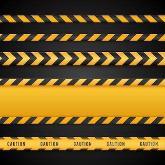 Warnlinien isoliert. warnbänder. warnschilder.
