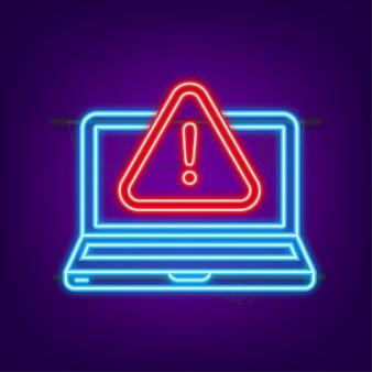 Warnmeldung laptop-benachrichtigung neon-symbol gefahrenfehler warnt laptop-virusproblem