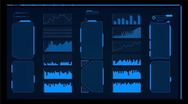 Warnrahmen. blauer futuristischer rahmen des abstrakten technischen entwurfs im modernen hud-arthintergrund.