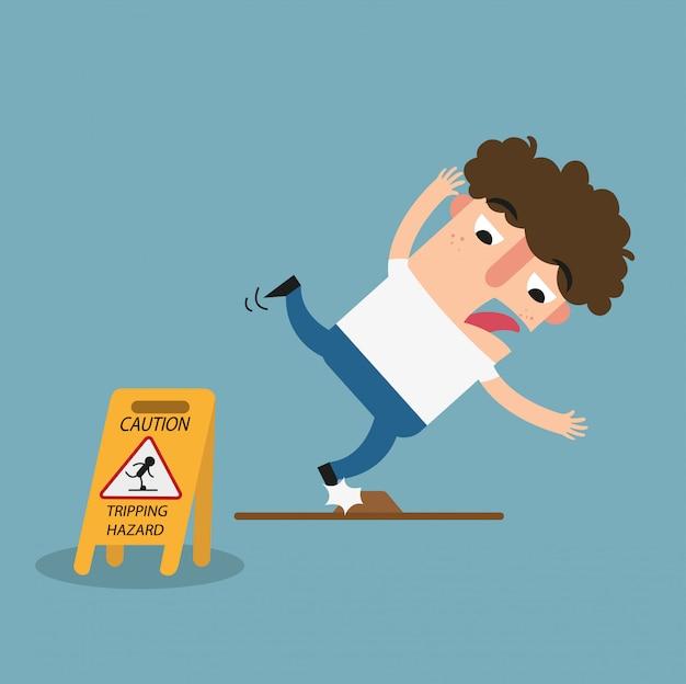 Warnschild für stolpergefahr