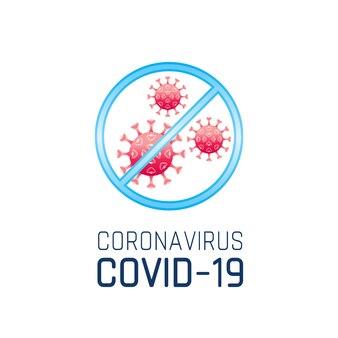 Warnschild mit coronavirus covid 19 logo, rotes coronavirus ncov 19. pandemiekonzept, medizinisches symbol des gesundheitswesens.