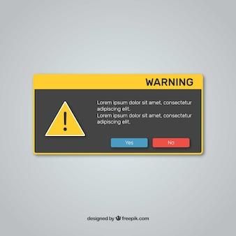 Warnung pop-up mit flachem design