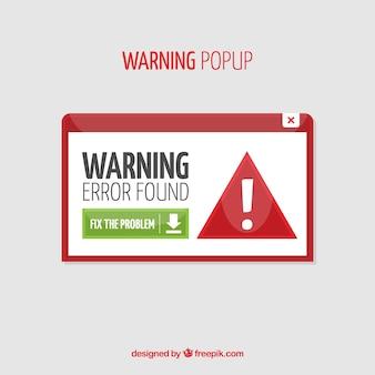 Warnung pop-up-vorlage mit flachen design
