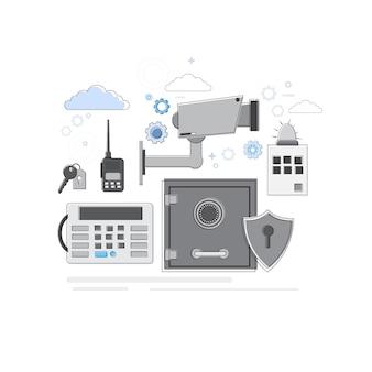 Warnungs-dieb-sicherheits-schutz-versicherungs-netz-fahnen-vektor-illustration