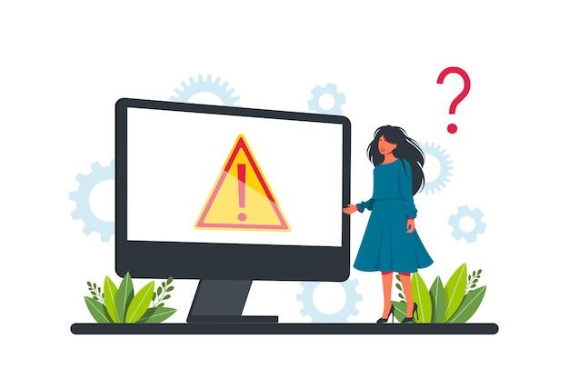Warnungsfehlerkonzept, geschäftsmann, der einen internetfehlerbildschirm auf einem computer betrachtet. konzept-betriebssystemfehlerwarnung für webseite, banner, präsentation, social media, dokumente, poster.