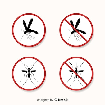 Warnzeichen des moskitos mit flachem design