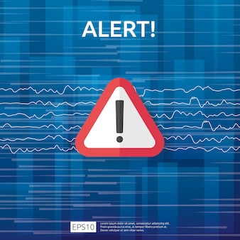 Warnzeichen des warnenden angreifers der aufmerksamkeit mit ausrufezeichen. vorsicht wachsamkeit des internet-gefahrensymbols. schildsymbol für vpn.