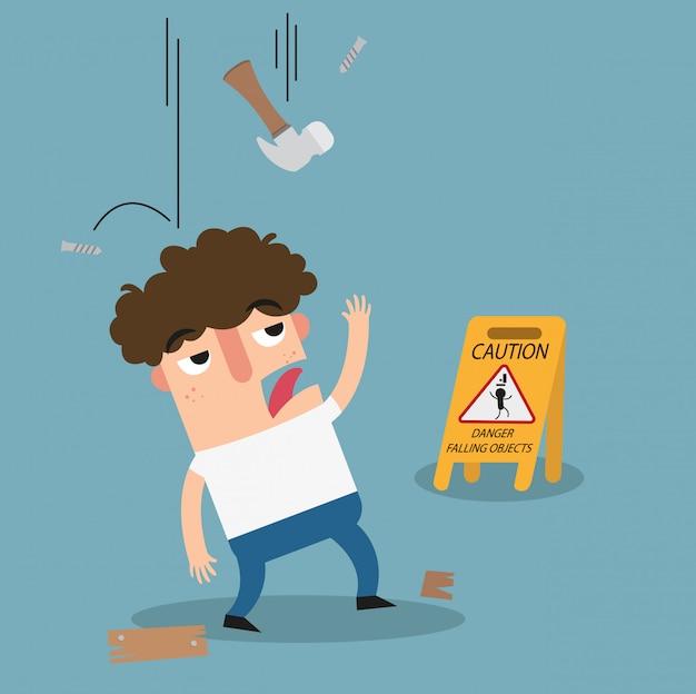 Warnzeichen für gefahren, die auf gegenstände fallen