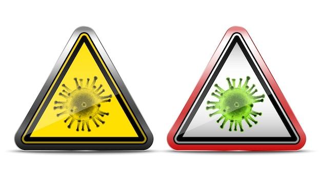 Warnzeichen von viren. symbolillustration auf weißem hintergrund. in metall und rotem rand.