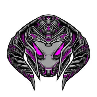 Warrior robot magenta maske