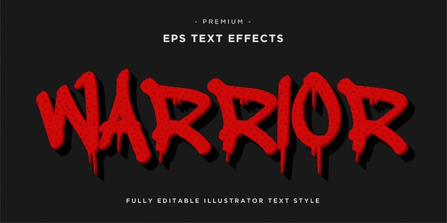 Warrior text style effekt - warrior red color fond.