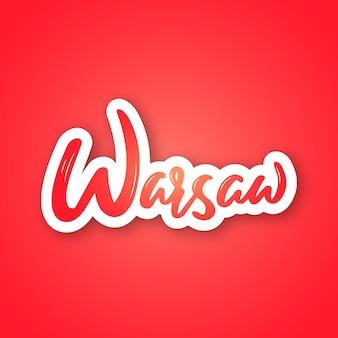 Warschau - hand gezeichneter beschriftender name von polen-hauptstadt.
