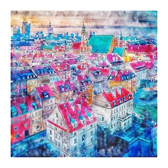 Warschau polen aquarellskizze handgezeichnete illustration